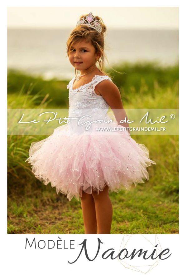 robe tutu mariage princesse demoiselle d'honneur cortege petite fille rose blanc