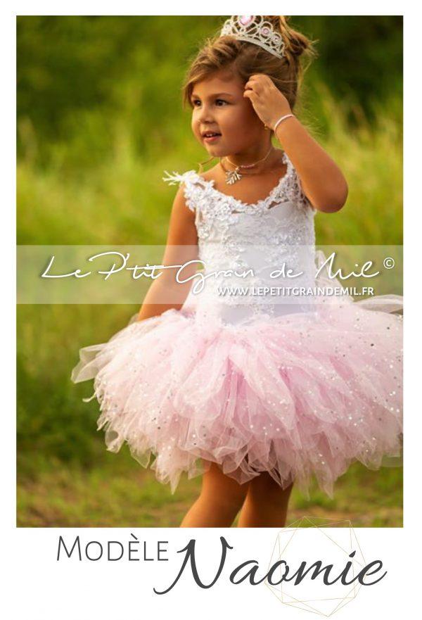 robe tutu princesse demoiselle d'honneur cortege petite fille rose blanc