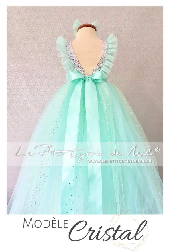 robe tutu princesse fille or argent sequins paillettes brillante mariage noël cérémonie demoiselle d'honneur