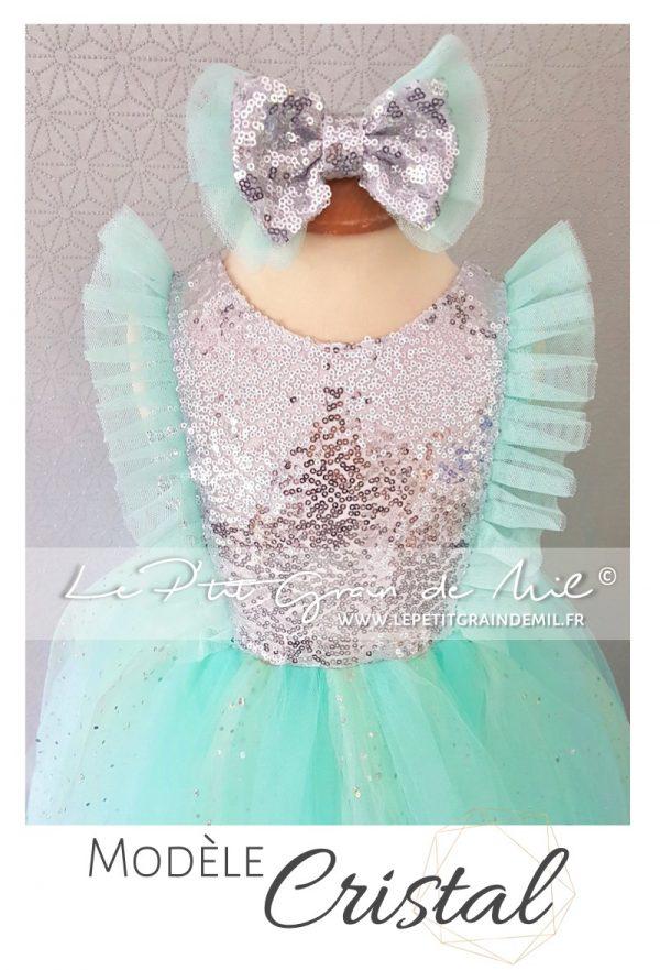 robe tutu princesse sequins enfant argent rose sequins paillettes brillante mariage noël cérémonie demoiselle d'honneur