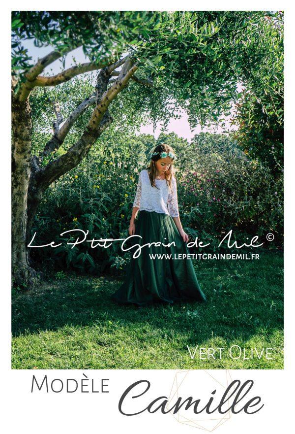 jupe en tulle fluide mariage bohème champêtre vert olive émeraude forêt mariage boho chic