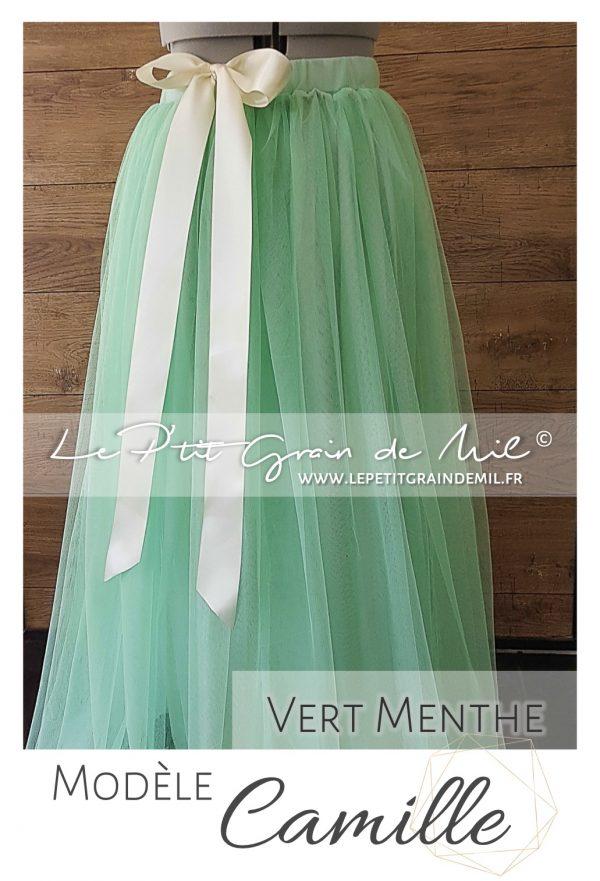 jupe tutu en tulle fluide femme demoiselle d'honneur cortège mariage cérémonie vert menthe vert d'eau