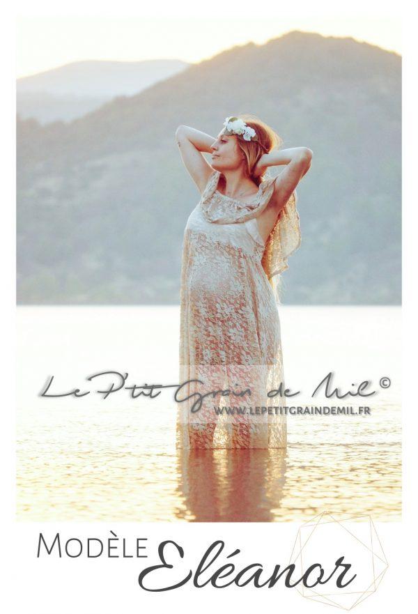 robe en dentelle pour shooting photo bohème romantique femme enceinte