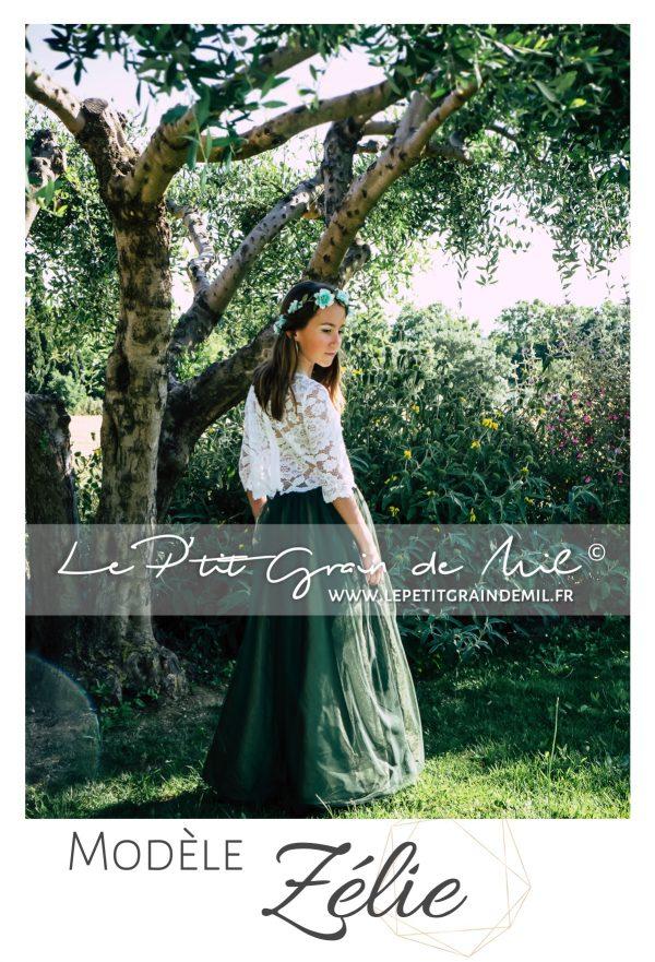 crop top en dentelle enfant ado 10 12 14 ans jupe tulle fluide mariage bohème champêtre tenue cortege vert olive émeraude