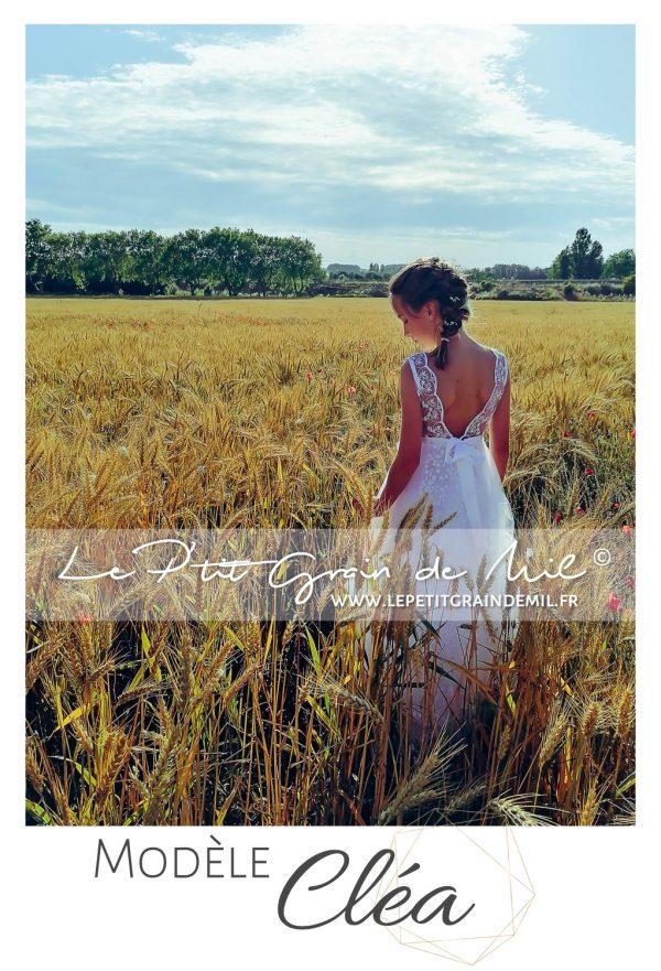 robe champêtre bohème demoiselle d'honneur mariage cérémonie blanche dos nu enfant petite fille femme