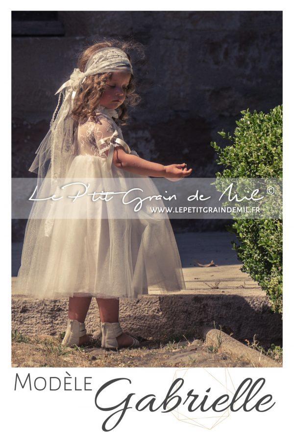 robe cortège tenue cérémonie bohème champêtre vintage années 50 dentelle tulle ivoire beige