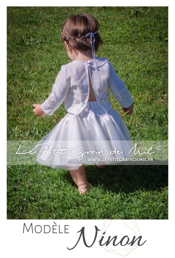 robe de cérémonie en lin et dentelle mariage bohème champêtre bébé petite fille ado 10 12 14 ans