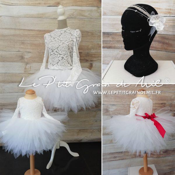 robe de mariage assortie mère fille jupe tutu et top en dentelle