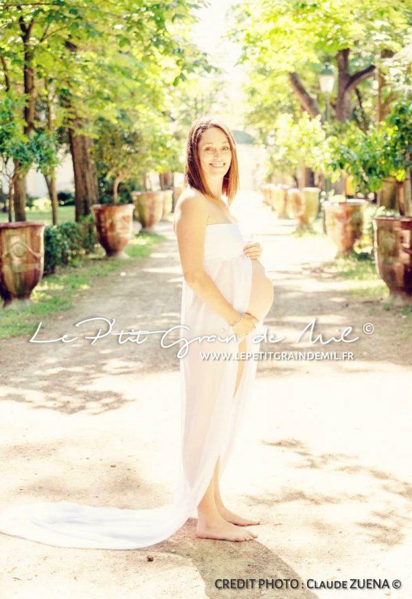 robe de maternité en voile transparent blanc pour shooting photo grossesse maternité copie