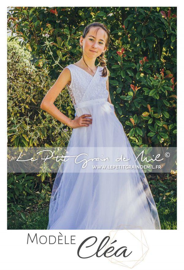 robe dentelle croisée dos nu esprit bohème champêtre mariage boho chic demoiselle d'honneur enfant fille femme