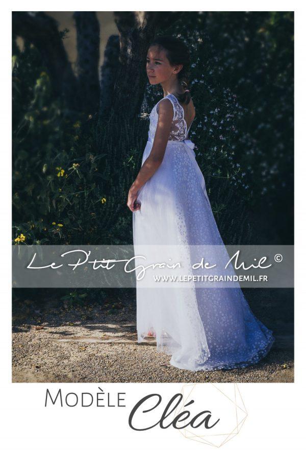 robe dentelle dos nu esprit bohème champêtre mariage boho chic demoiselle d'honneur enfant fille femme