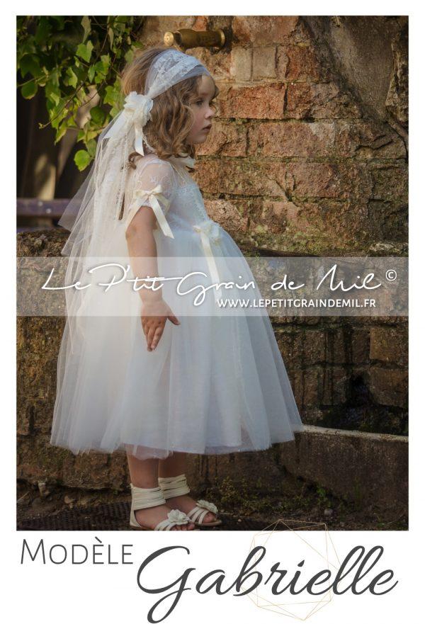 robe enfant cérémonie bohème champêtre vintage années 50 dentelle tulle ivoire beige