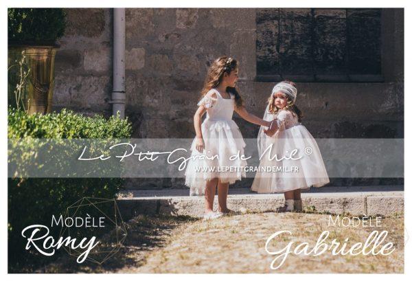robe mariage enfant cérémonie cortege bohème champêtre vintage années 50 dentelle tulle ivoire beige