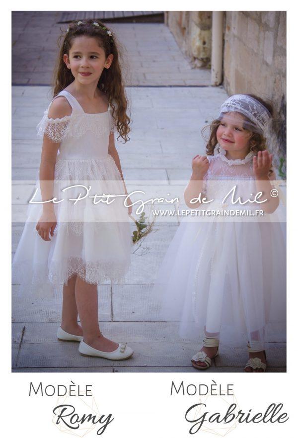 robe mariage enfant cortege cérémonie bohème champêtre vintage années 50 dentelle tulle ivoire beige