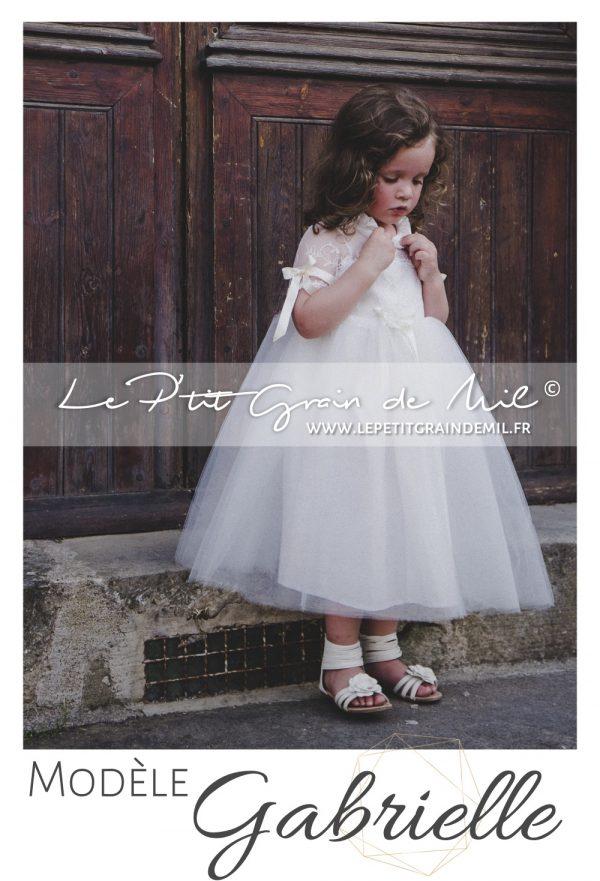 robe mariage petite fille cortege cérémonie bohème champêtre vintage années 50 dentelle tulle ivoire beige