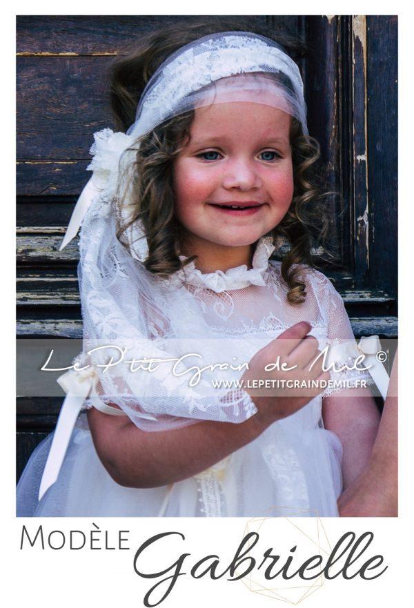 robe mariage rétro enfant cérémonie cortege bohème champêtre vintage années 50 dentelle tulle ivoire beige