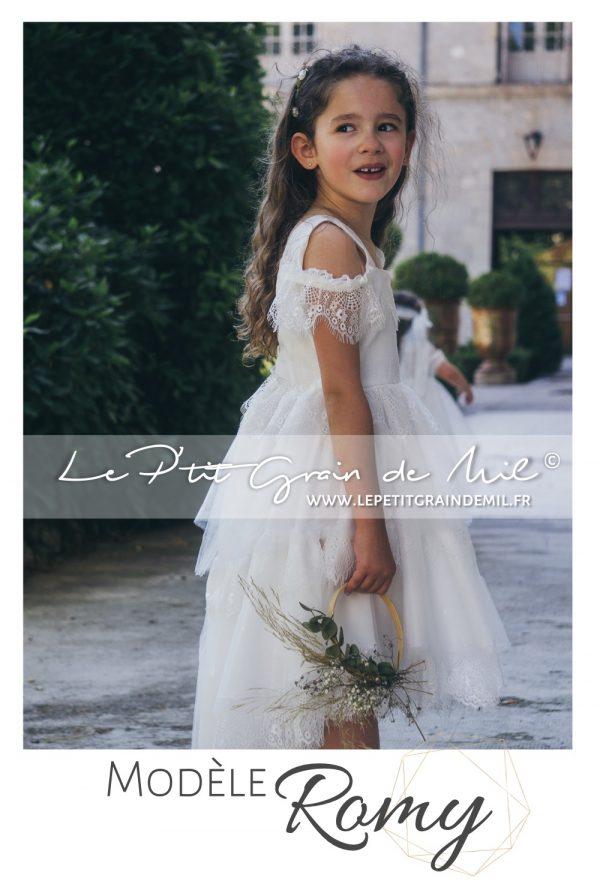 tenue cortège petite fille mariage champêtre boheme vintage dentelle