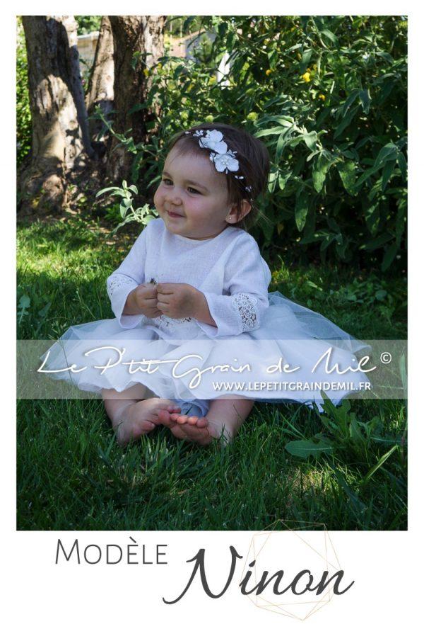 tenue de cérémonie cortège automne manches longues en lin et dentelle mariage bohème champêtre bébé petite fille ado 10 12 14 ans