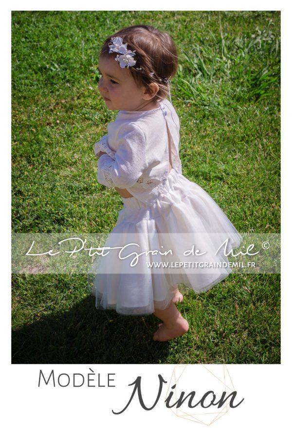 tenue de cérémonie en lin et dentelle mariage bohème champêtre bébé petite fille ado 10 12 14 ans
