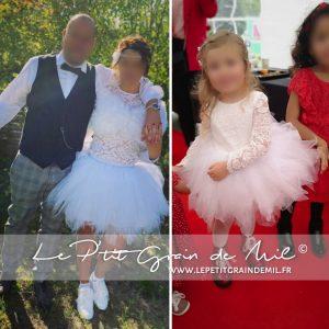tenue mariage assortie mere fille mariée demoiselle d'honneur sur mesure floutée