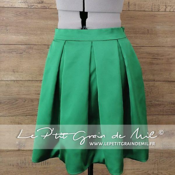 jupe plissée courte femme sur mesure vert sapin bouteille