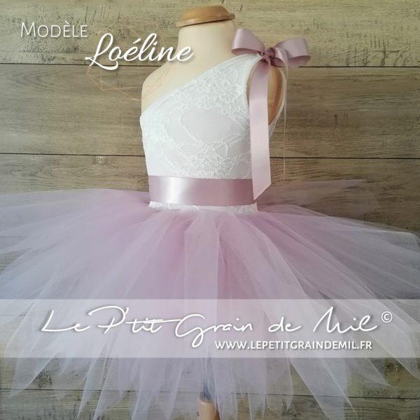 robe mariage cérémonie enfant vieux rose dentelle tulle princesse 1 épaule dénudée
