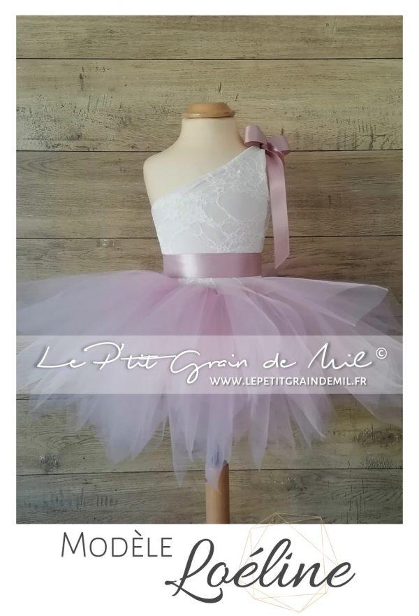 robe tutu cérémonie mariage enfant fillette petite fille boheme champetre princesse dentelle tulle vieux rose ivoire