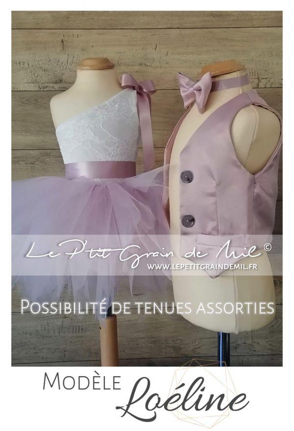 tenue assorties cérémonie mariage cortege enfant garçon fille robe gilet noeud papillon boheme champêtre vieux rose ivoire