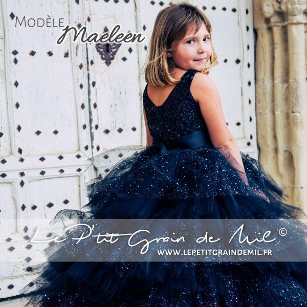 robe de princesse bal soirée prestige luxe ultra volume paillettes noire