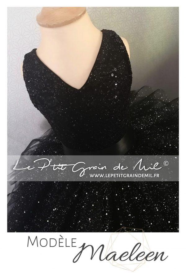 robe de princesse féérique noire à paillettes volants dentelle mariage cérémonie princesse