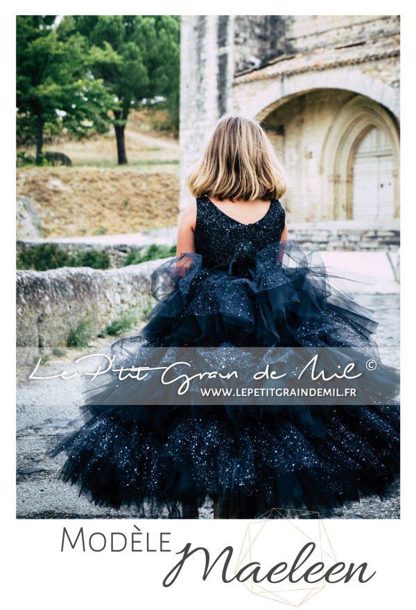 robe de princesse luxe petite fille avec volants noire à paillettes et sequins