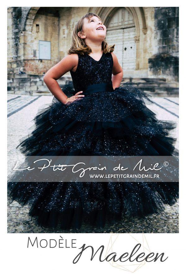 robe de princesse mariage luxe enfant avec volants noire à paillettes et sequins