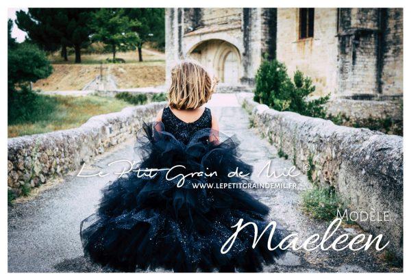 robe demoiselle d'honneur enfant princesse paillettes robe noire luxe de cérémonie petite fille