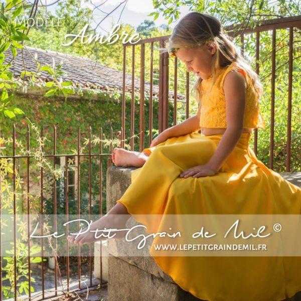robe de cérémonie enfant mariage bohème champêtre crop top dentelle pour petite fille