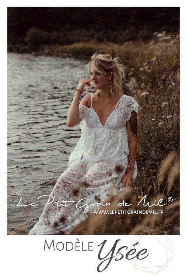 séance photo maternité bohème vintage champêtre robe dentelle grossesse