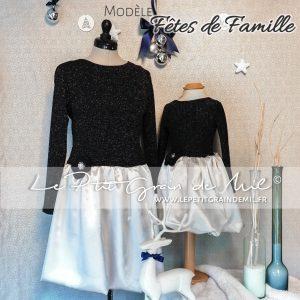 Robe de Noël Mère-fille assortie bleu marine et gris paillettes sequins