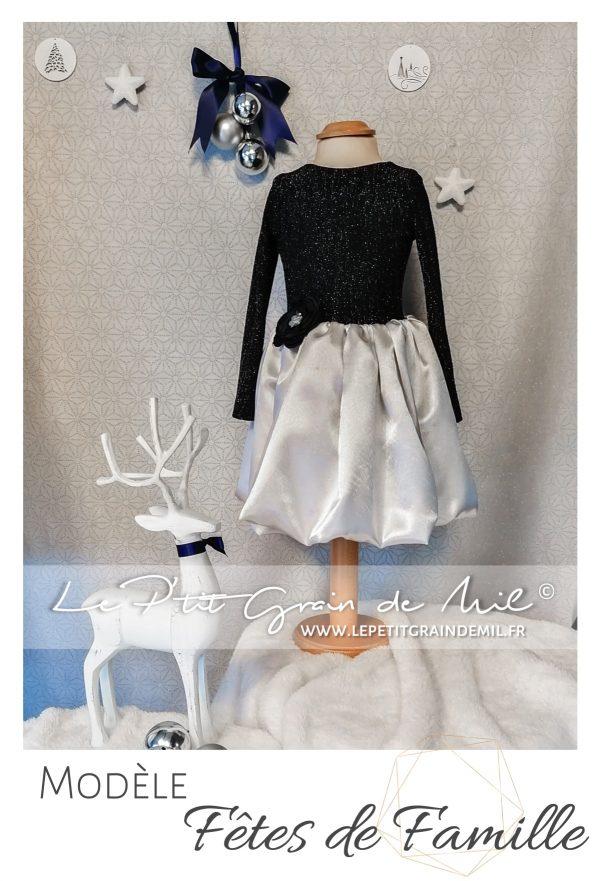 Robe de Noël enfant bleu marine à paillettes et satin gris