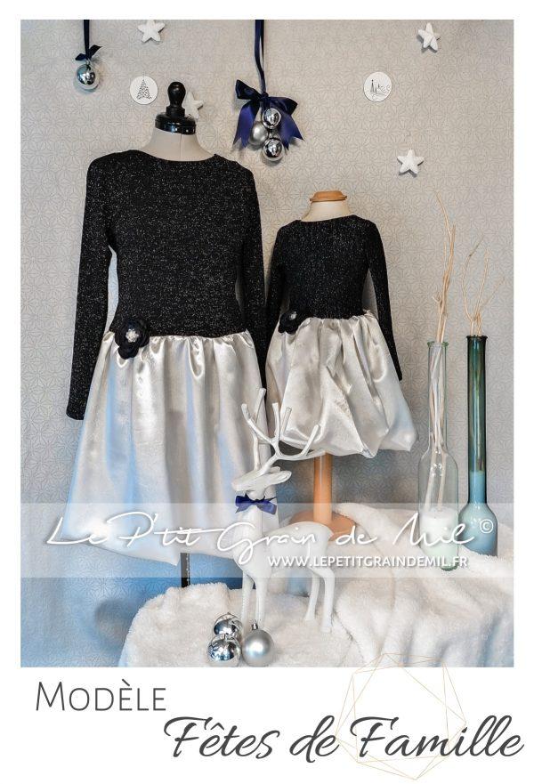 Tenue Mère Fille de Noël robe bleu marine à paillettes et satin gris