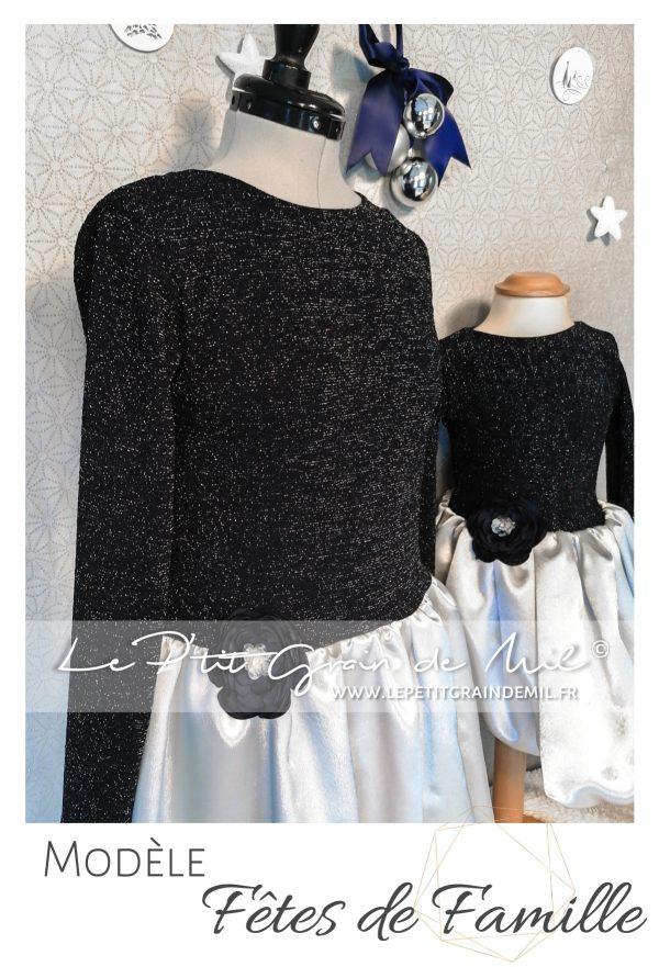 Tenue de Noël Mère-fille assortie bleu marine et gris paillettes sequins