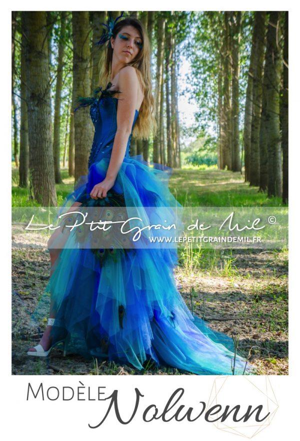 robe de mariée couleur bleu vert paon arc en ciel