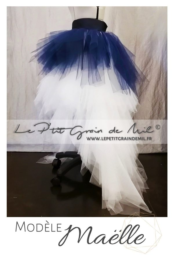 robe de mariée en tulle asymétrique jupe tutu en mouchoirs de tulle made in france