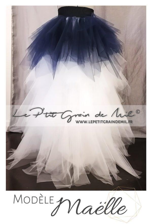 robe de mariée tutu courte devant longue derrière avec traine en tulle