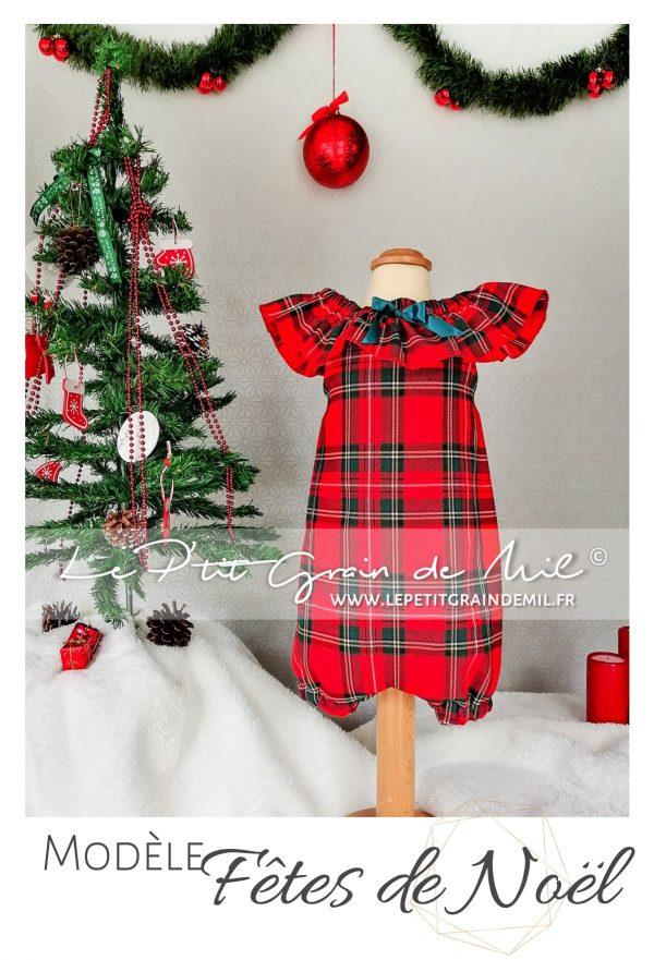 robe de noël bébé en tartan tissus écossais à carreaux rouge barboteuse