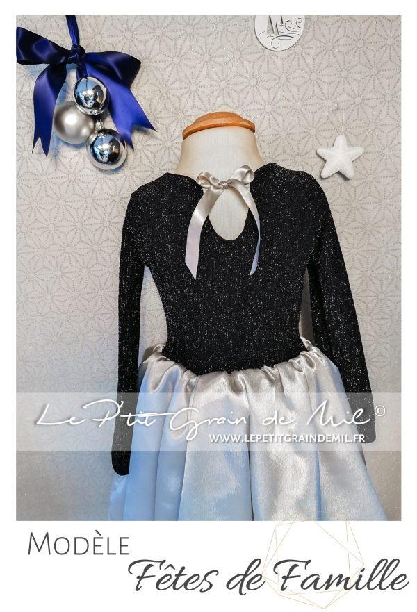 robe de noël enfant bleu marine sequins à paillettes et satin gris