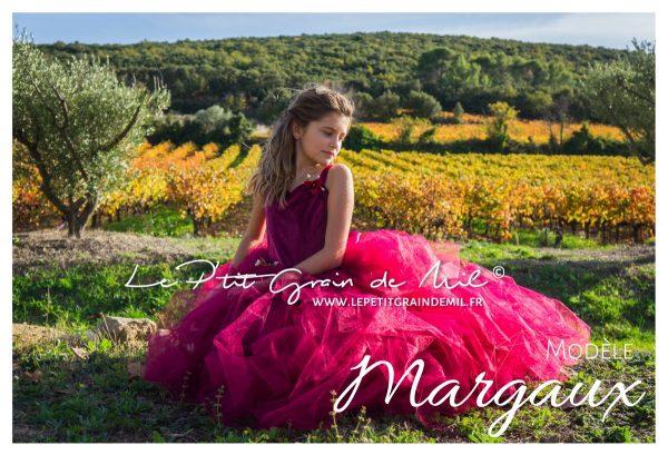 robe de princesse fille mariage cérémonie demoiselle d'honneur tutu tulle et velours bordeaux lie de vin