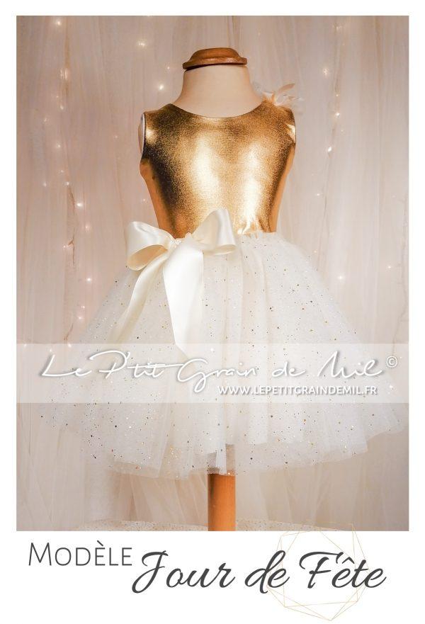 robe tutu de noël or en tulle doré à paillettes