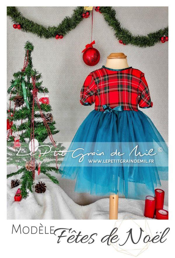 robe tutu de noël rouge pour fille en tartan et tulle tissus écossais à grands carreaux