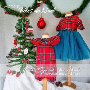 robe tutu noël bébé petite fille rouge en tartan tissu écossais à carreaux