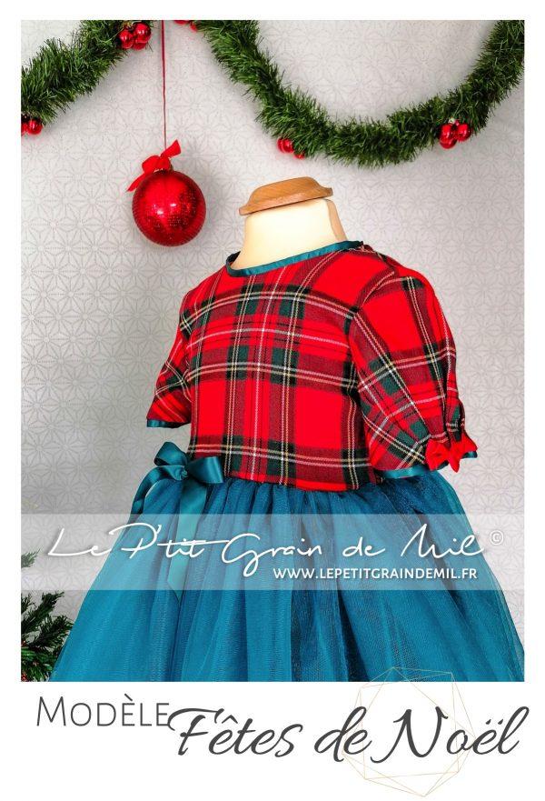 robe tutu noël rouge pour fille en tartan et tulle tissus écossais à grands carreaux