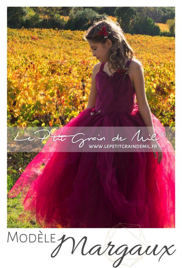 robe tutu princesse enfant mariage cérémonie demoiselle d'honneur bordeaxu lie de vin